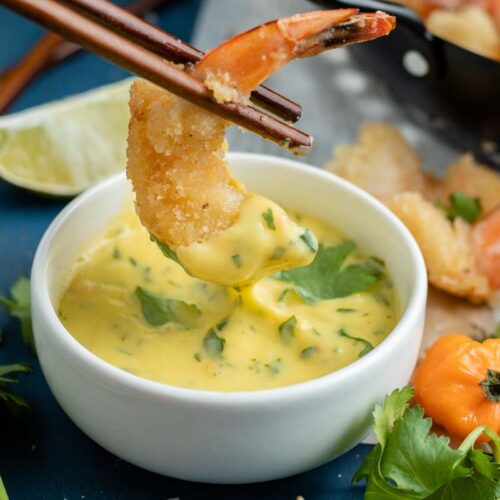 fried shrimp dipped in mango habanero sauce