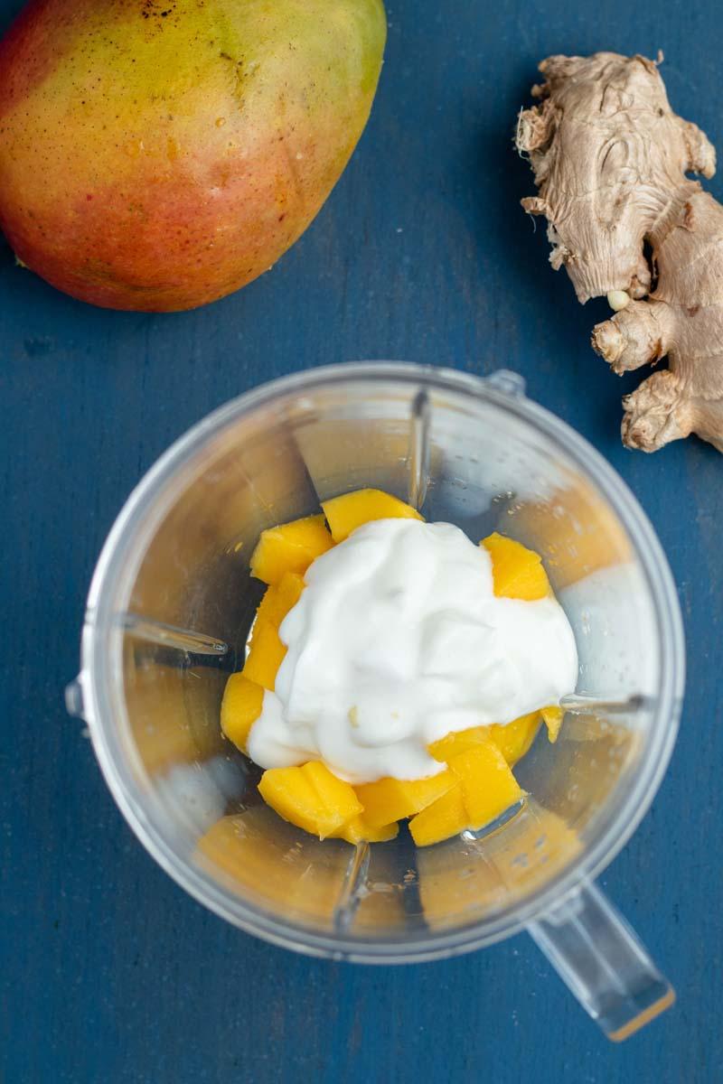 mango habanero sauce ingredients in a food processor