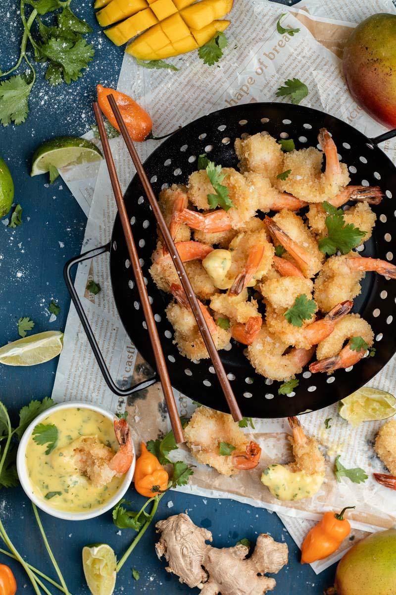 fried shrimp with mango habanero sauce