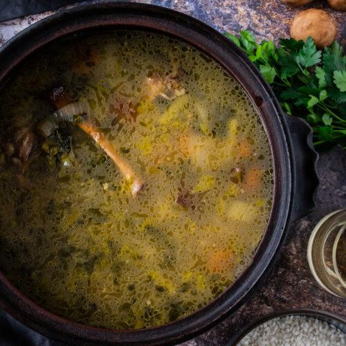 lamb broth in pot