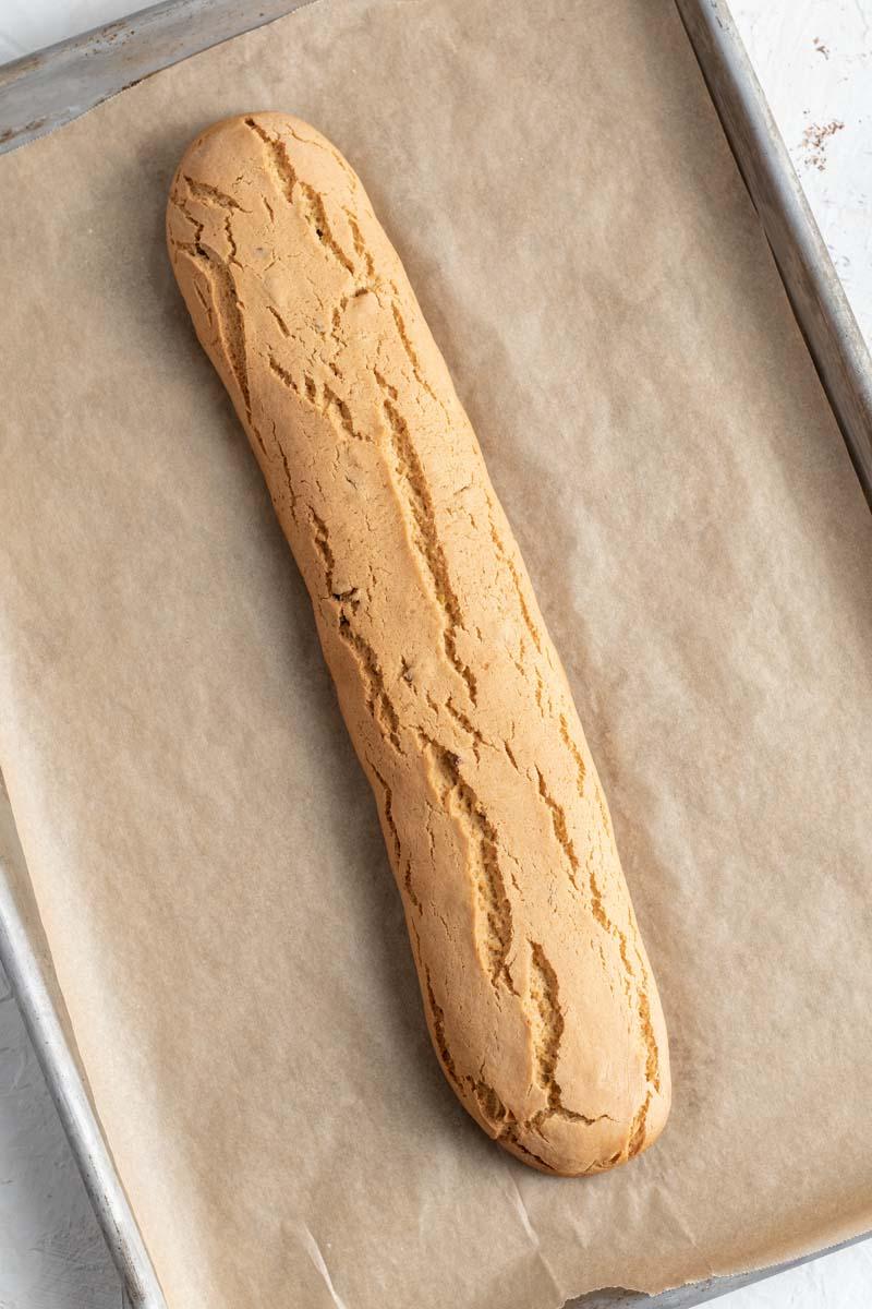 biscotti dough baked on baking sheet