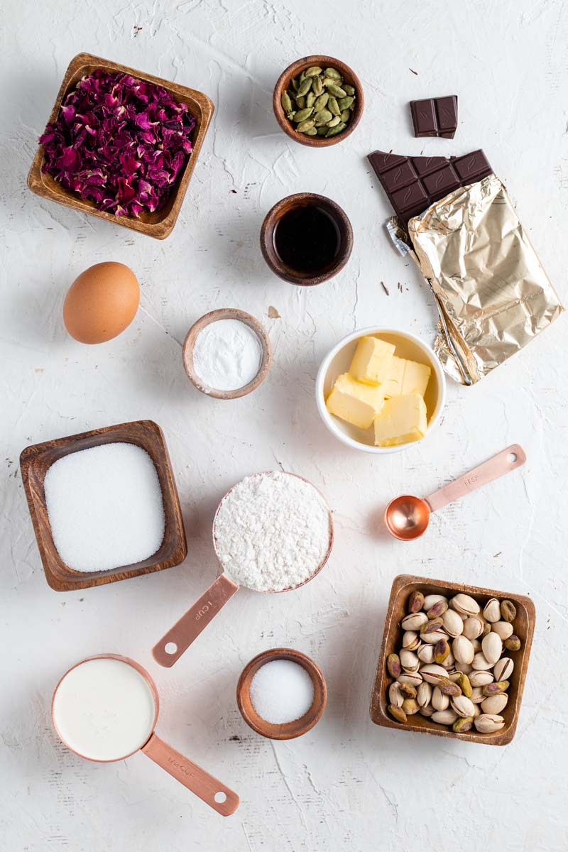 rosewater and cardamom biscotti ingredients