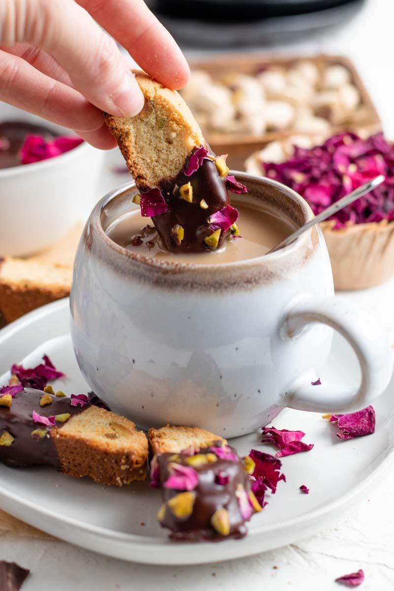 chocolate dipped biscotti dipped in tea
