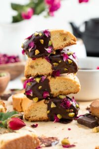 rosewater and cardamom biscotti layered on one another