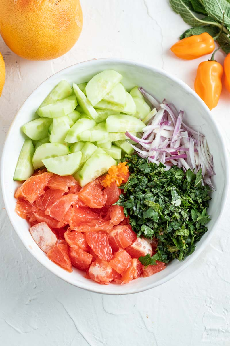 shrimp ceviche vegetables chopped in bowl