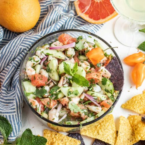 shrimp ceviche in bowl with tortilla chips