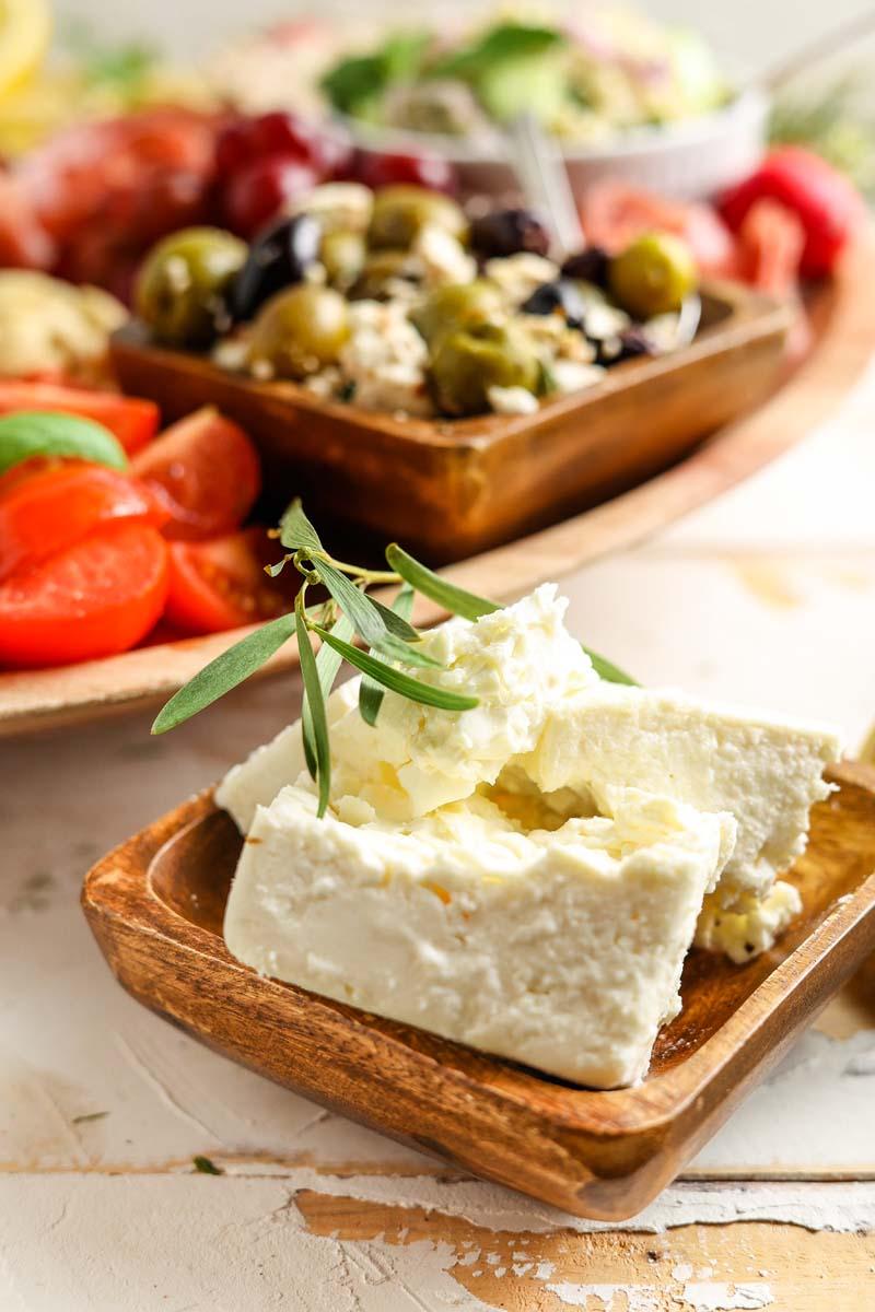 feta cheese in a dish