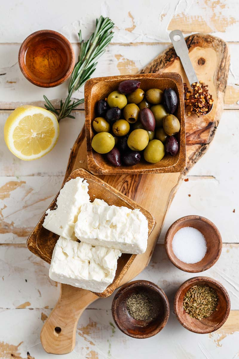 marinated greek olives and feta cheese ingredients