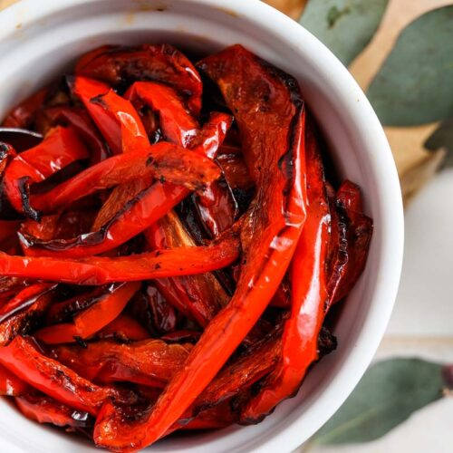 roasted red peppers in a bowl