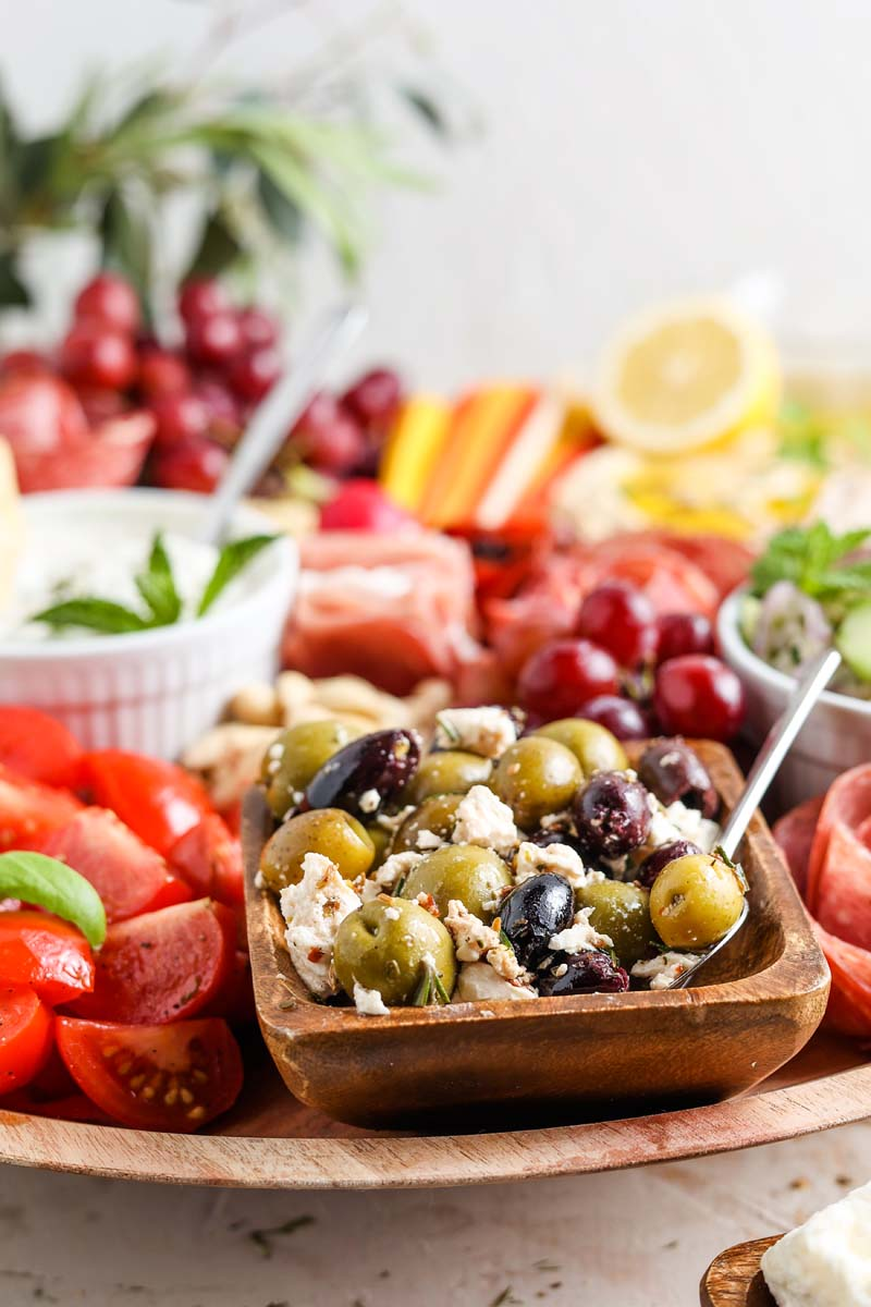 mezze platter including greek olives and feta cheese