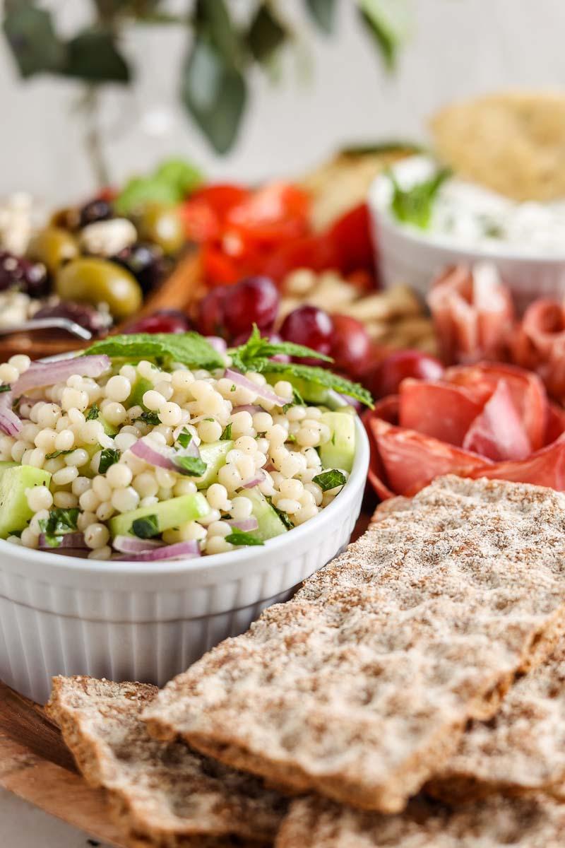 tabbouleh salad in a mezze platter