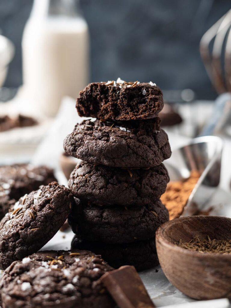 stacked sea salt chocolate caraway cookies