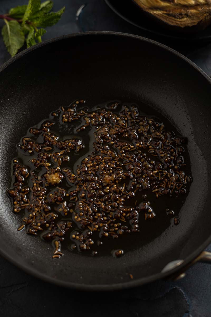 spices bloomed in sauté pan